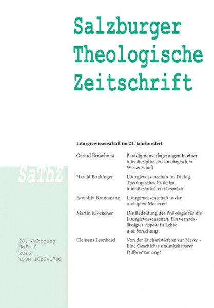 Salzburger Theologische Zeitschrift. 20. Jahrgang, 2. Heft 2016