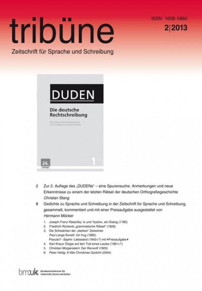 tribüne. zeitschrift für sprache und schreibung. 2/2013