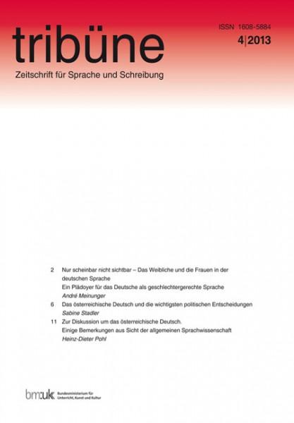 tribüne. zeitschrift für sprache und schreibung. 4/2013